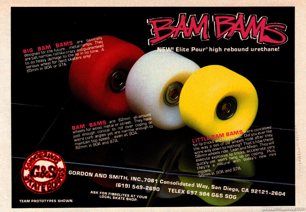 "G/&S Skateboards Vintage Bam Bam Sticker NOS 5"""