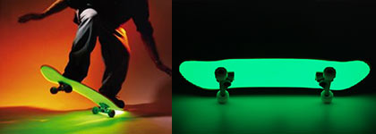 Glow in the dark skateboard paint