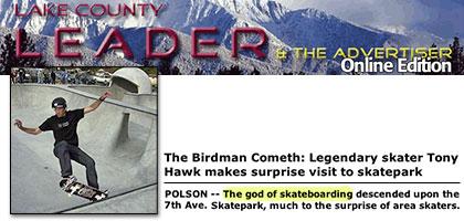 Tony Hawk visits Polson Montana Skatepark