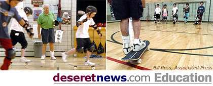 Skateboarding in gym class