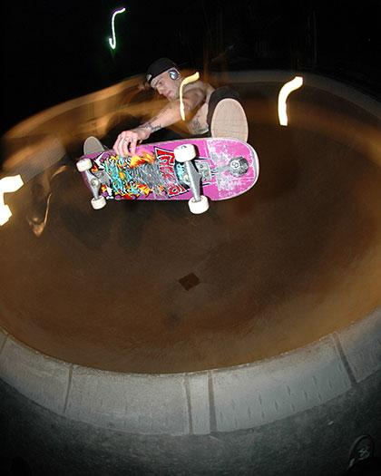 Brian From McMinnville skates a pool at night