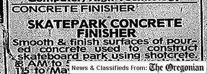 Skatepark finisher wanted
