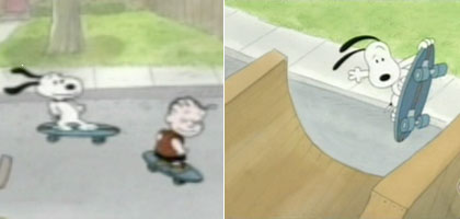 Snoopy on a skateboard