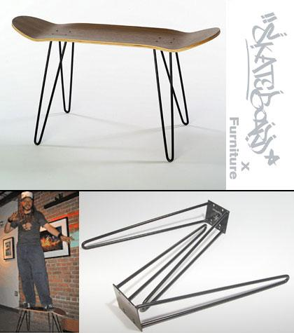 Not quite recycled skateboard furniture - Skurniture