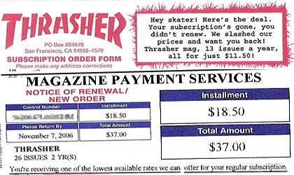 Thrasher subscriptions