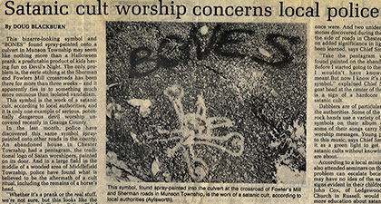 Satanic cult worship concerns local police