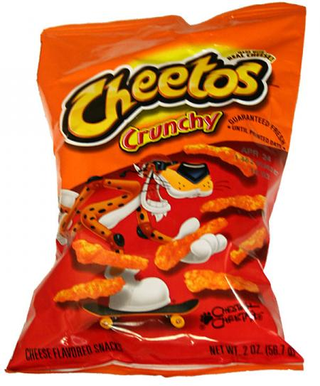 Cheetos Crunchy with skateboard on package