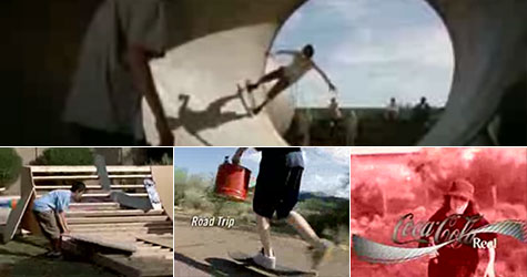 Coca Cola Skateboard full pipes ad
