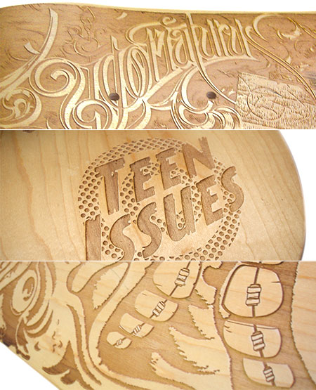 laser etched skateboards