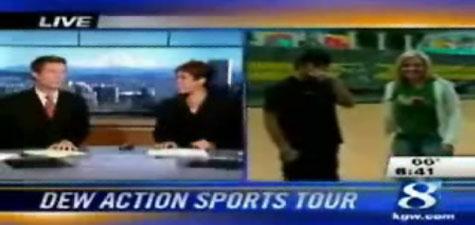 Reporter eats it on a skateboard