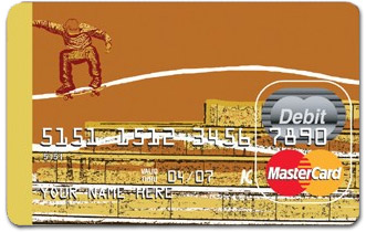 Skateboarder on a prepaid debit credit card
