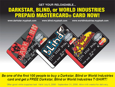 Skateboard industry credit/debit cards