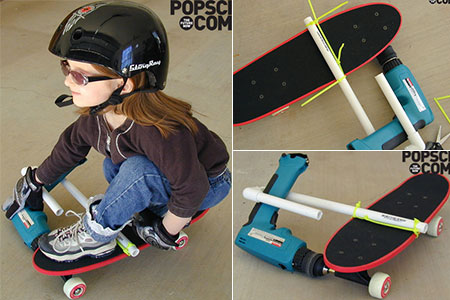 drill powered skateboards