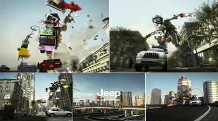 Commercial with a robot riding a Jeep Compass like a skateboard.