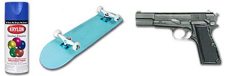 Skateboards and spray paint vs. hand guns.