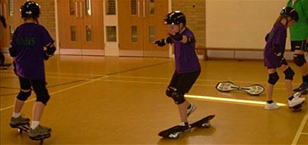 skateboarding in PE class