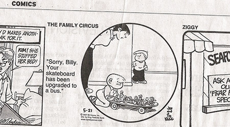 Skateboard in Family Circus