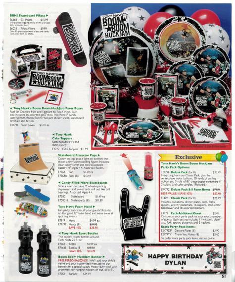 Tony Hawk party supplies