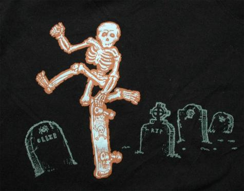 Kids skeleton skateboarding shirt