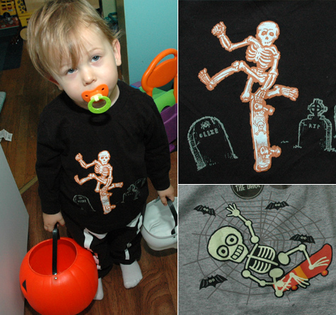 Halloween Highjinks: Kids skeleton skateboarding