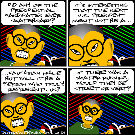 comic  about a skateboarding president
