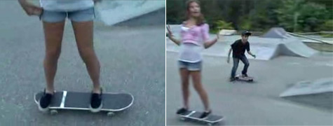 Hot girl tries to skate