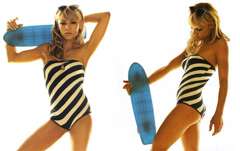 Samaire Armstrong with a skateboard