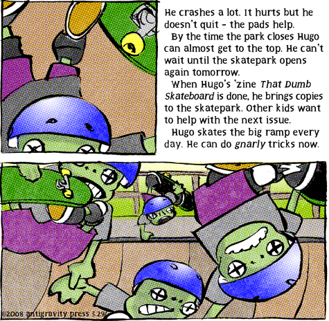 skate comic about Hugo and that dumb skateboard