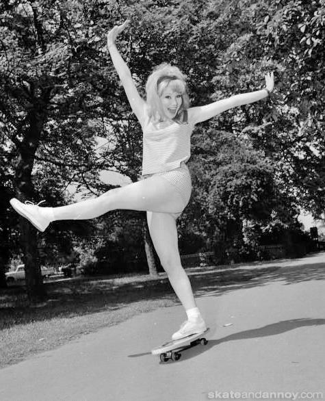 Joyce Blair on a skateboard