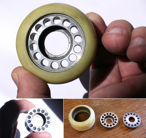 Skateboard wheels with replaceable urethane treads or tires.
