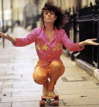 Marc Bolan on a skateboard