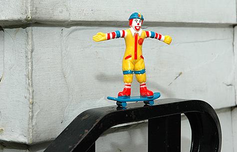 Ronald McDonald on a skateboard 1