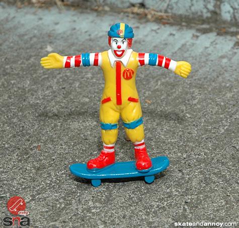 Ronald McDonald on a skateboard 2