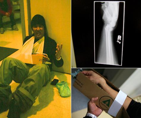 Tom Inouye breaks his wrist.