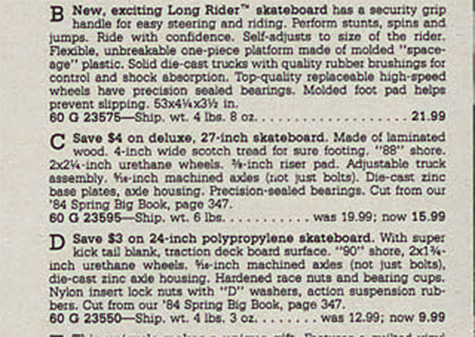 Longrider ,old skateboards - Wards catalog