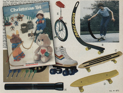 Skateboards in the 1984 Montgomery Wards xmas catalog
