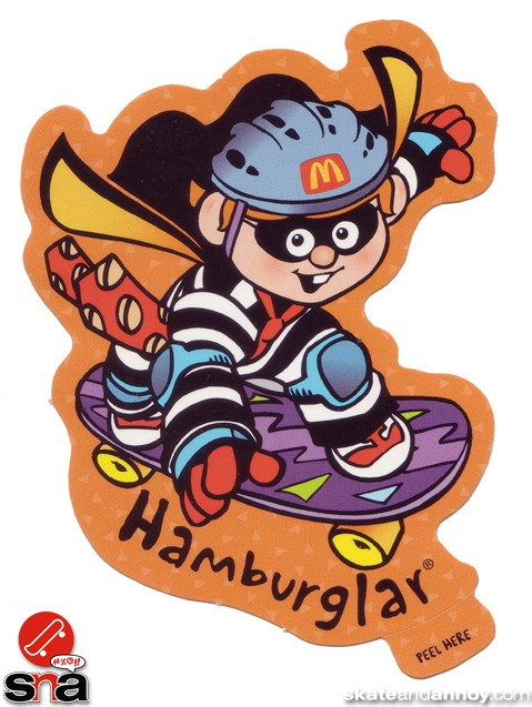 The Hamburglar  on a skateboard