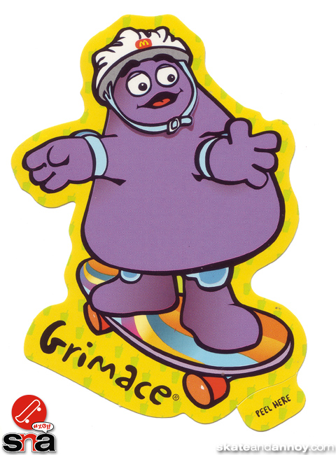 Grimace  on a skateboard