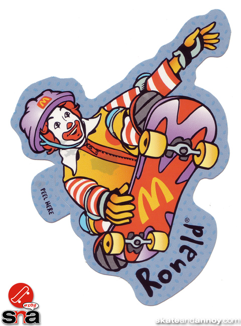 Ronald McDonald on a skateboard