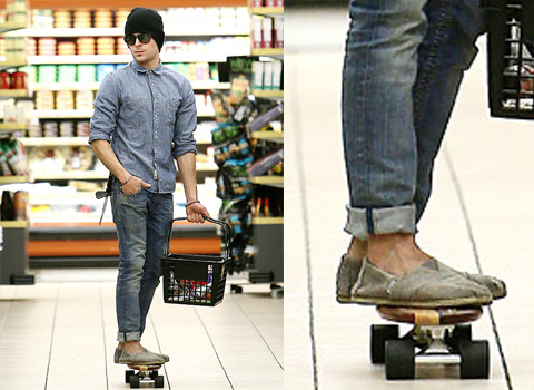 Zac Efron skates in grocery store