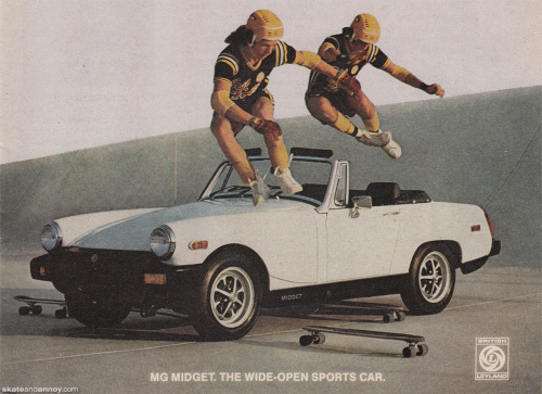 MG Midget car ad with skateboard