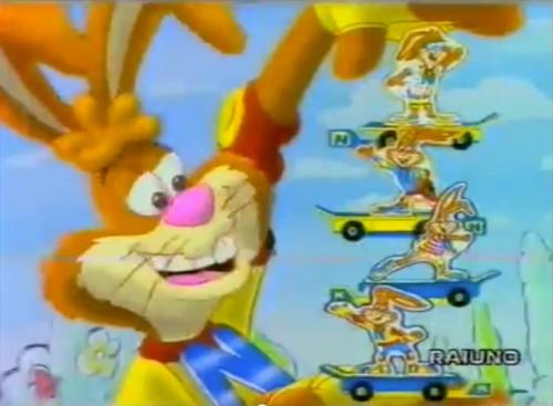 Nesquik bunny skateboarding