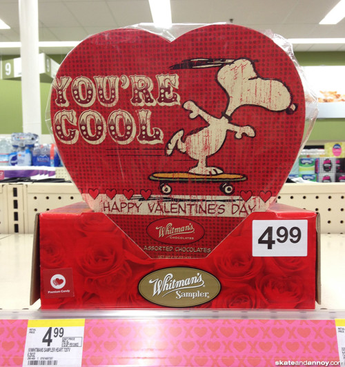 Snoopy on a skateboard Valentine candy